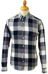 TukTuk Combi Blue Retro 60s Mod Block Check Shirt