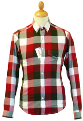 TukTuk Combi Red Retro 60s Mod Block Check Shirt