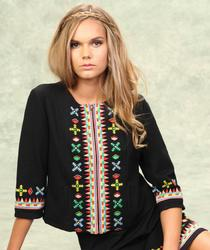 Tulle Women's 60s Boho Embroidered Cropped Jacket
