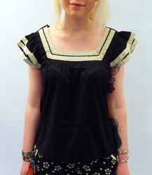 TULLE Retro Ruffle Trim Square Neck Vintage Top