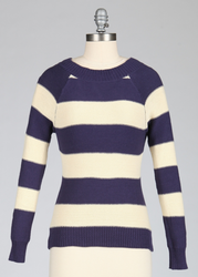 Block Stripe TULLE Keyhole and Tie Retro Jumper N