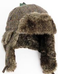 Harris Tweed Herringbone Faux Fur Trapper Hat