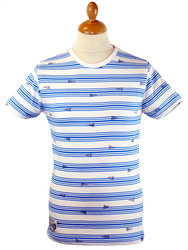 Shelby UCLA Retro Indie Mod Stripe Crew T-shirt