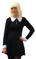 Wednesday Retro 60s Mod Contrast Collar Dress (B)