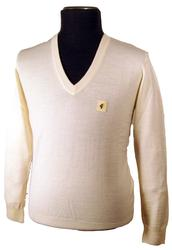 Gabicci Vintage Mens V-Neck Merinofine Jumper (W)