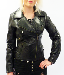 Rebecca - Retro 70s Indie Leather Biker Jacket (B)