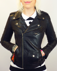 Lilly Retro Fifties Indie Leather Biker Jacket (B)