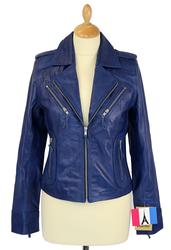 Zoe - Retro 70s Indie Leather Biker Jacket (Navy)