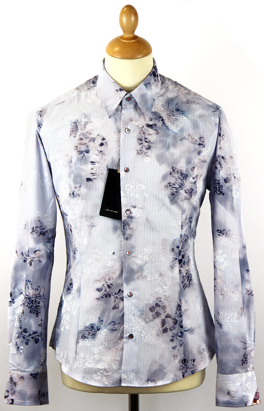 Mimosa 1 LIKE NO OTHER Floral Fine Stripe Shirt