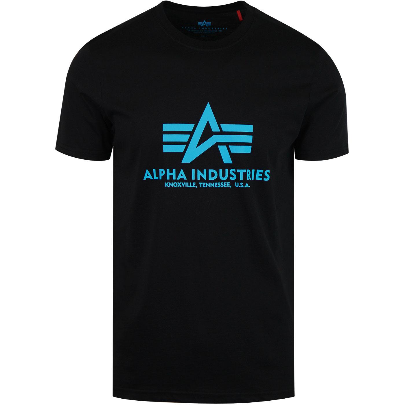 ALPHA INDUSTRIES Retro Basic Logo Tee Black/Blue