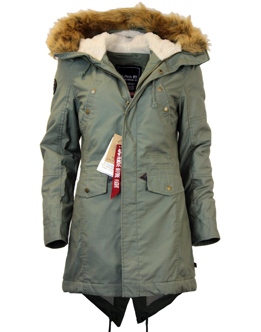 ALPHA INDUSTRIES Hooded Fishtail Womens Mod M65 Parka in Olive