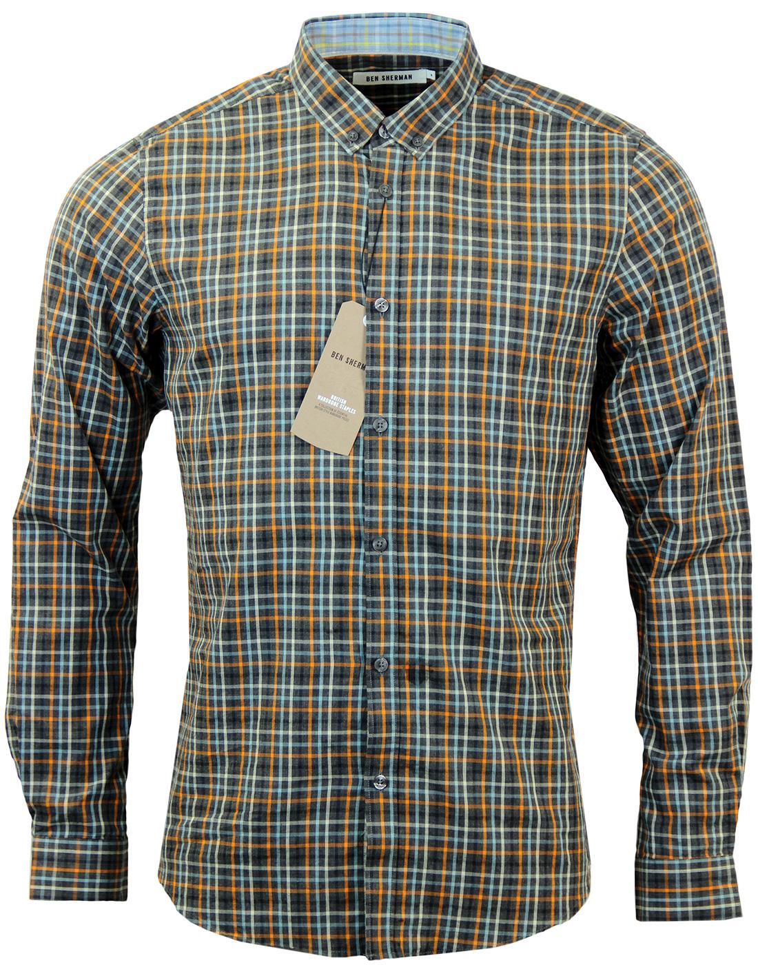 Ben Sherman Slub Multi Check Retro Mod L S Soho Fit Shirt