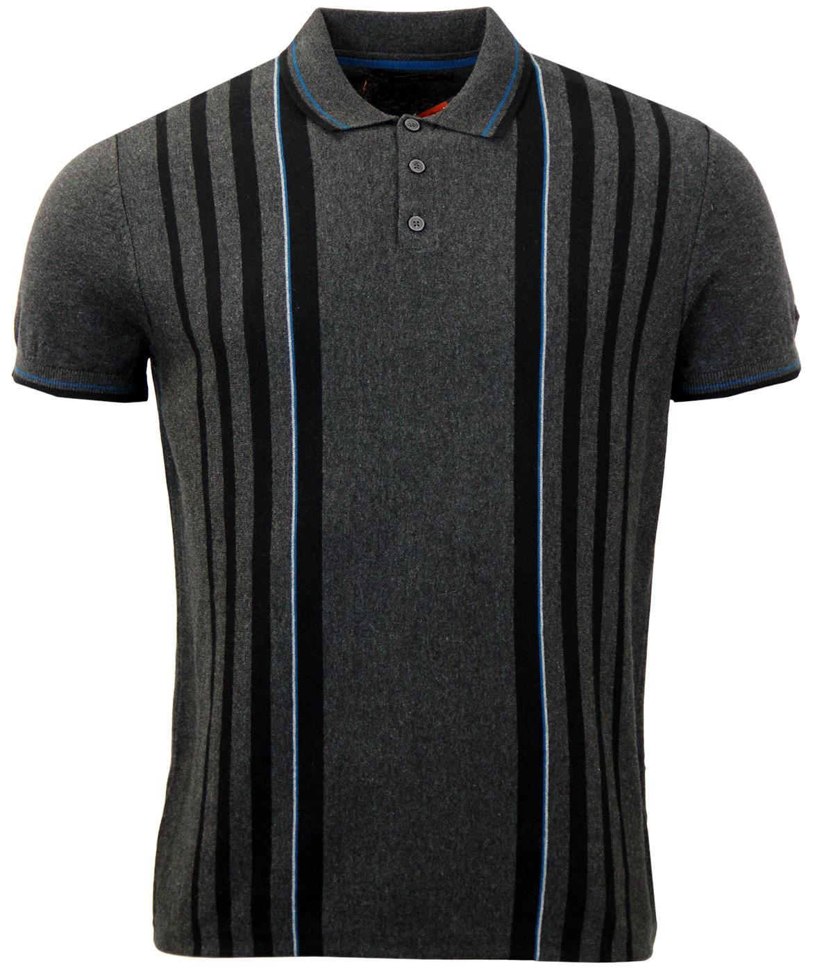 BEN SHERMAN Retro Mod Stripe Panel Knit Polo