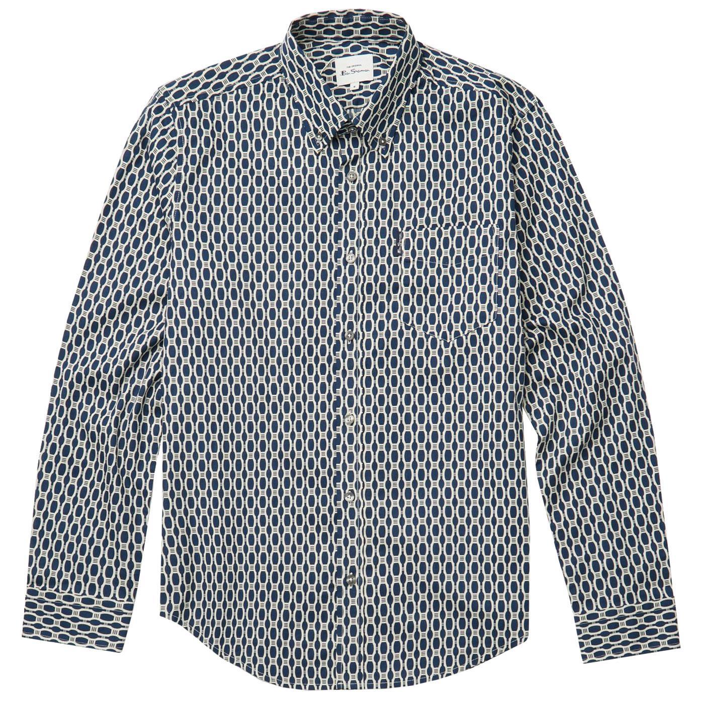 BEN SHERMAN Mens Retro 70s Abstract Print Shirt DB