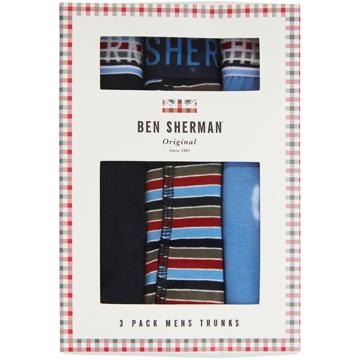 Binks BEN SHERMAN 3 Pack Retro Trunks Navy/Stripe
