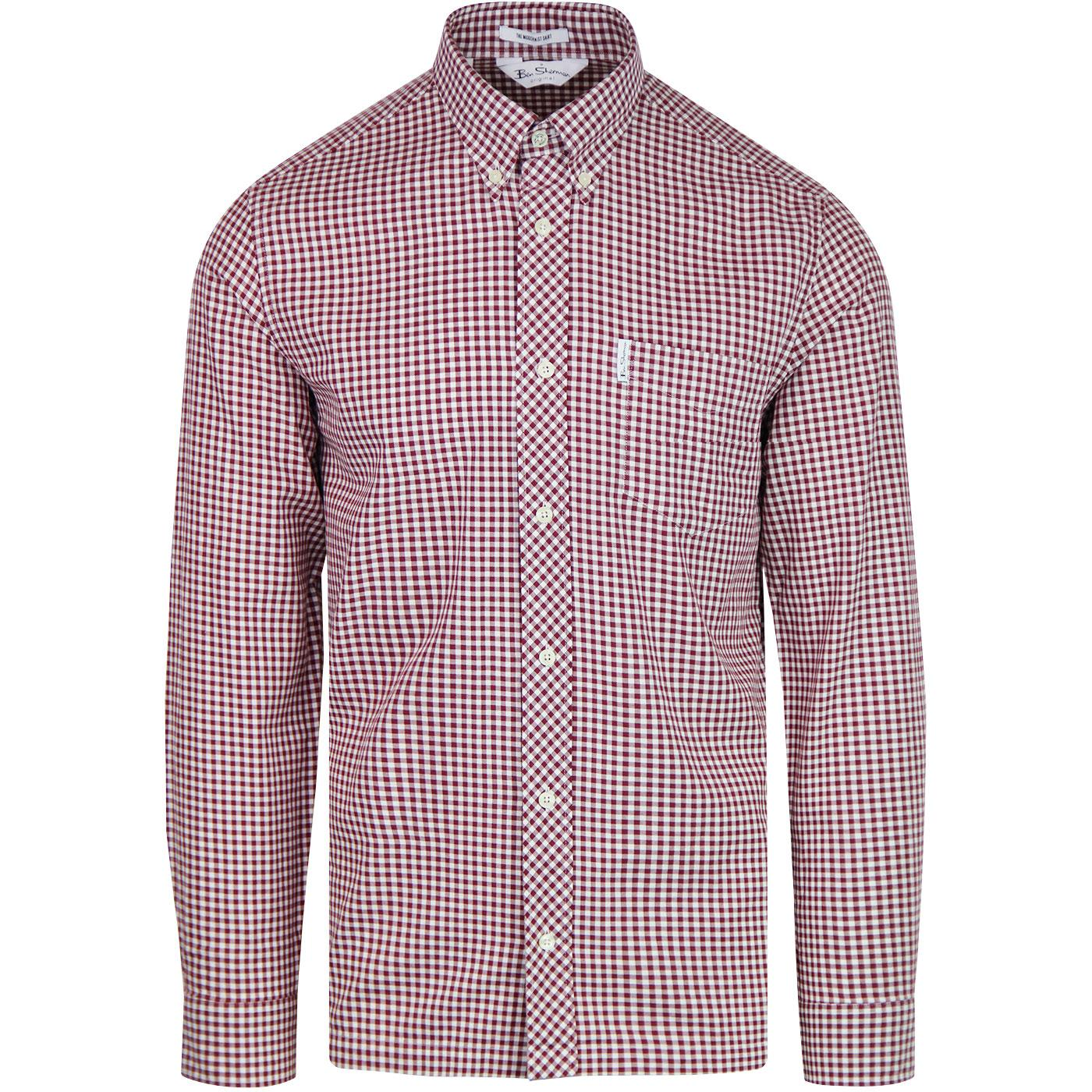 Modernist BEN SHERMAN 60s Archive Check Shirt WINE