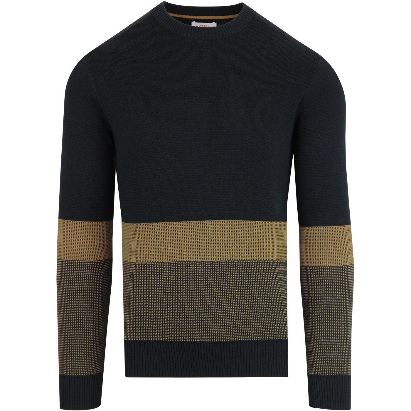 BEN SHERMAN Birdseye Colour Block Knitted Jumper