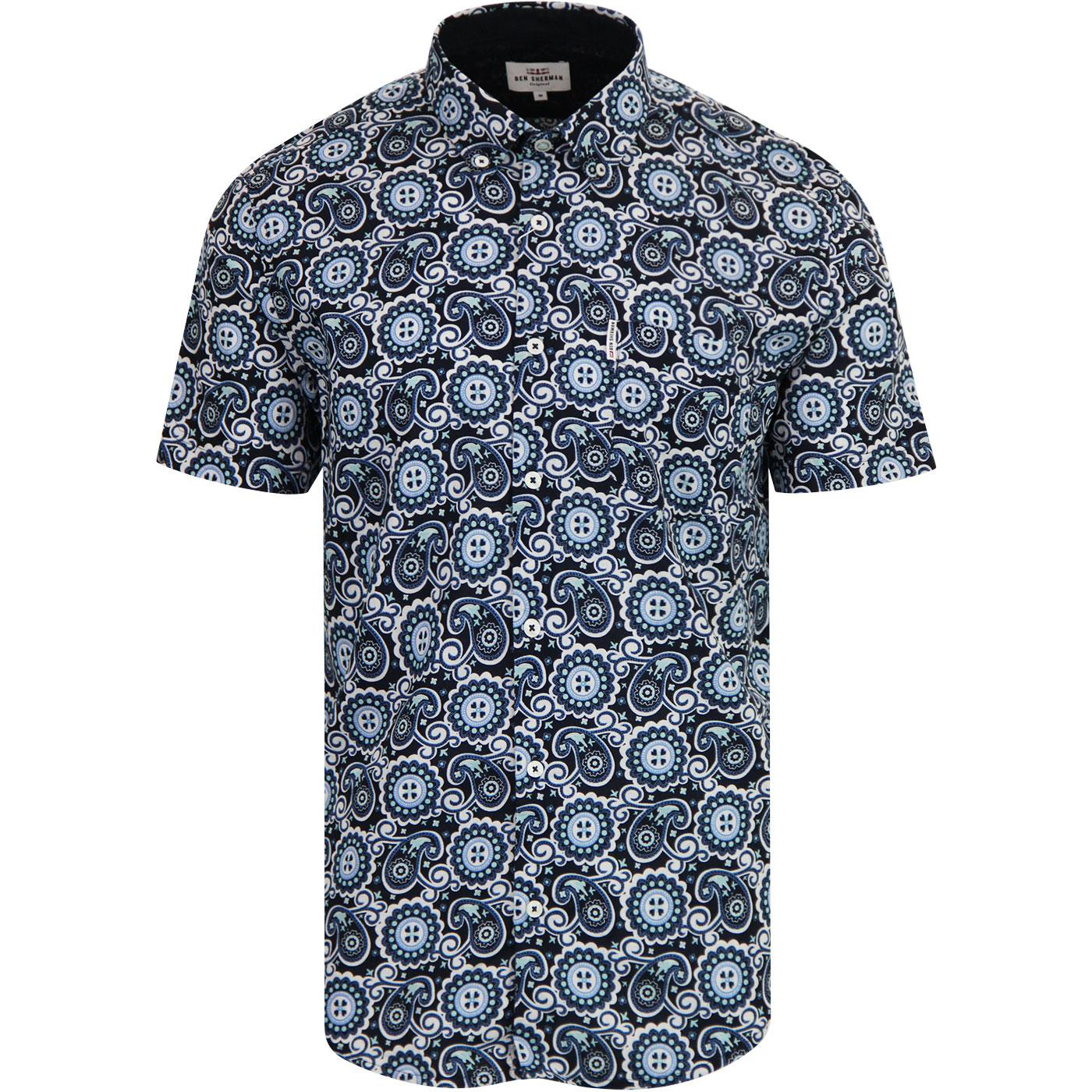 BEN SHERMAN Retro Paisley Print Shirt DARK BLUE
