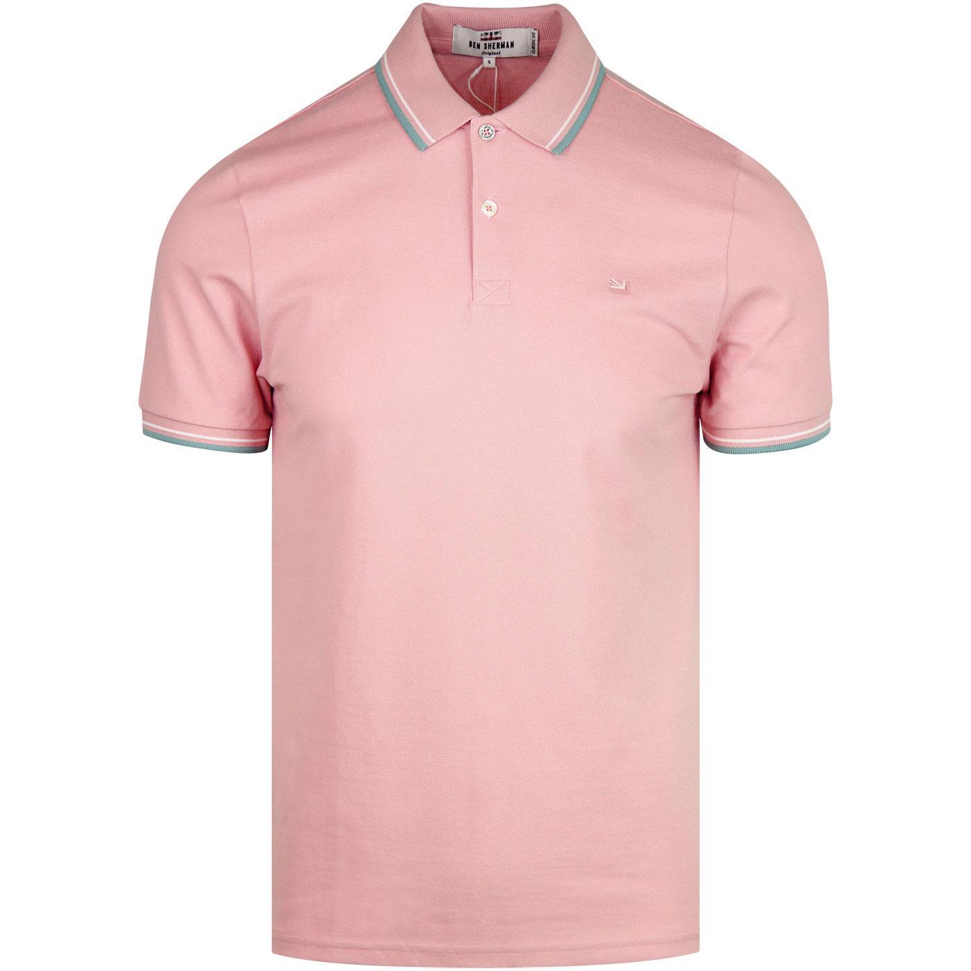 Romford BEN SHERMAN Mod Tipped Polo (Pale Pink)