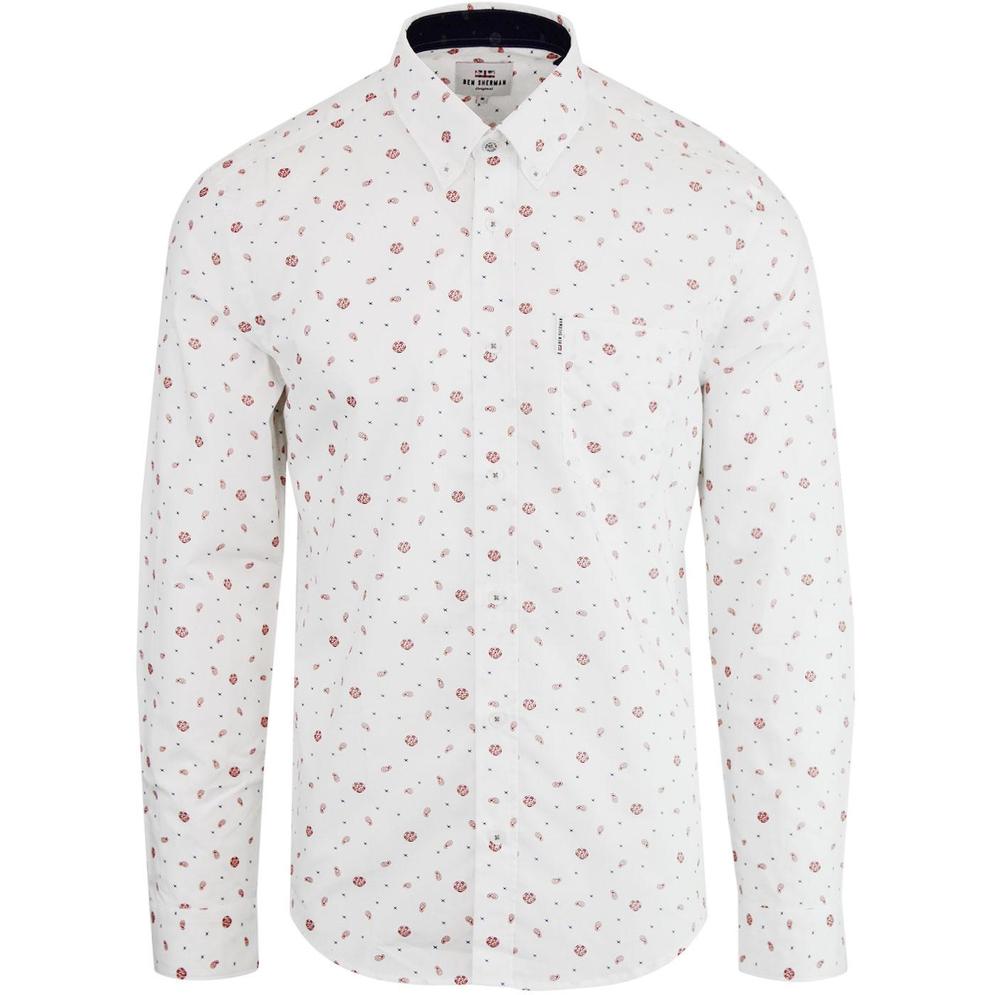 BEN SHERMAN Northern Soul Rose Scatter Mod Shirt