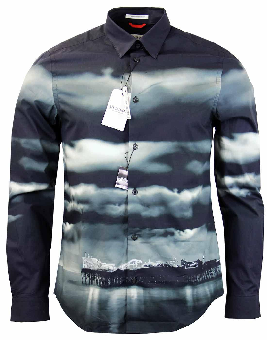 Ben sherman mod brighton beach print retro shirt jet black for Brighton t shirt printing