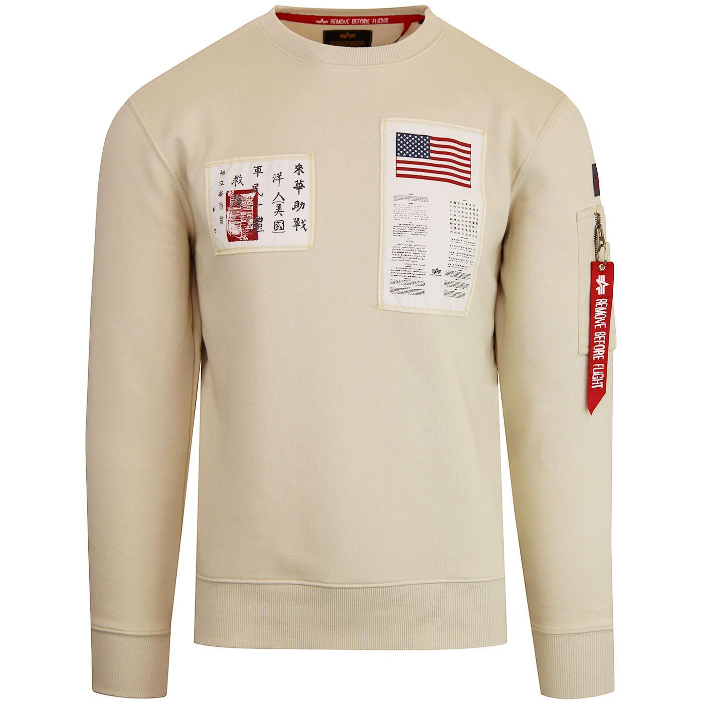 Alpha Industries Blood Chit Print Sweatshirt Crew Neck Strong Cuffs 80//20 Cotton