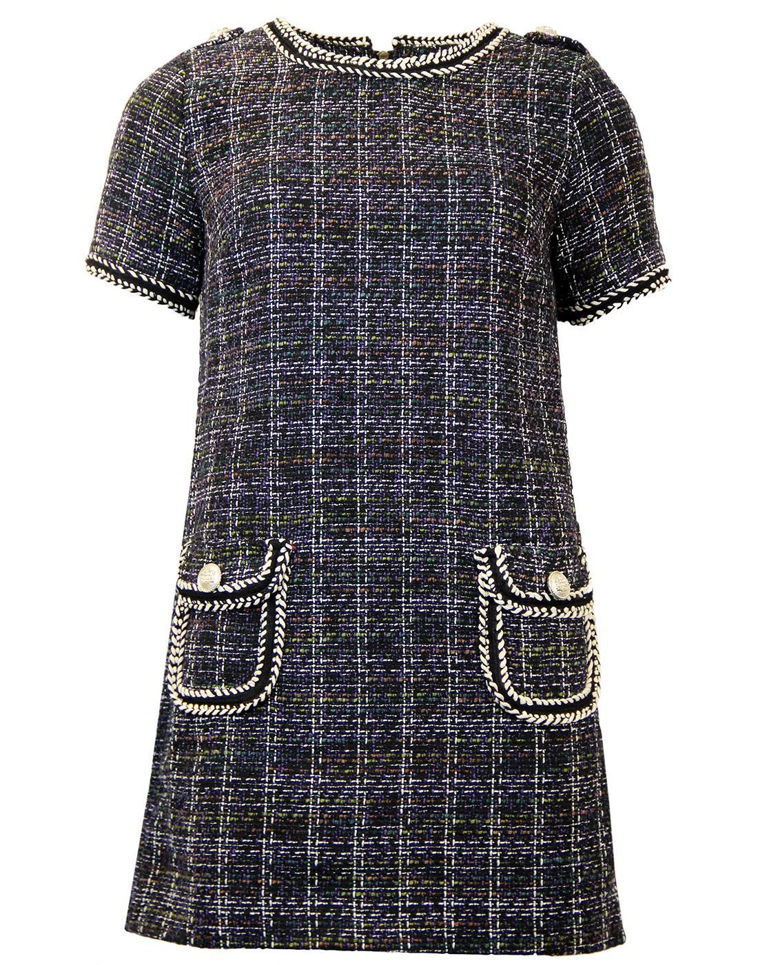 darling elsa retro vintage tweed tunic in purple