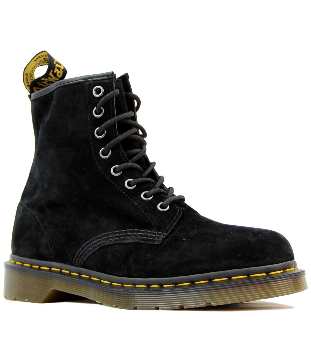 dr martens 1460 retro mod soft buck 8 eyelet boots in black. Black Bedroom Furniture Sets. Home Design Ideas