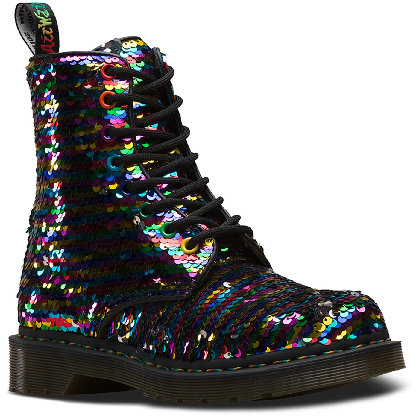DR MARTENS Pascal Reversible Sequin Rainbow Boots