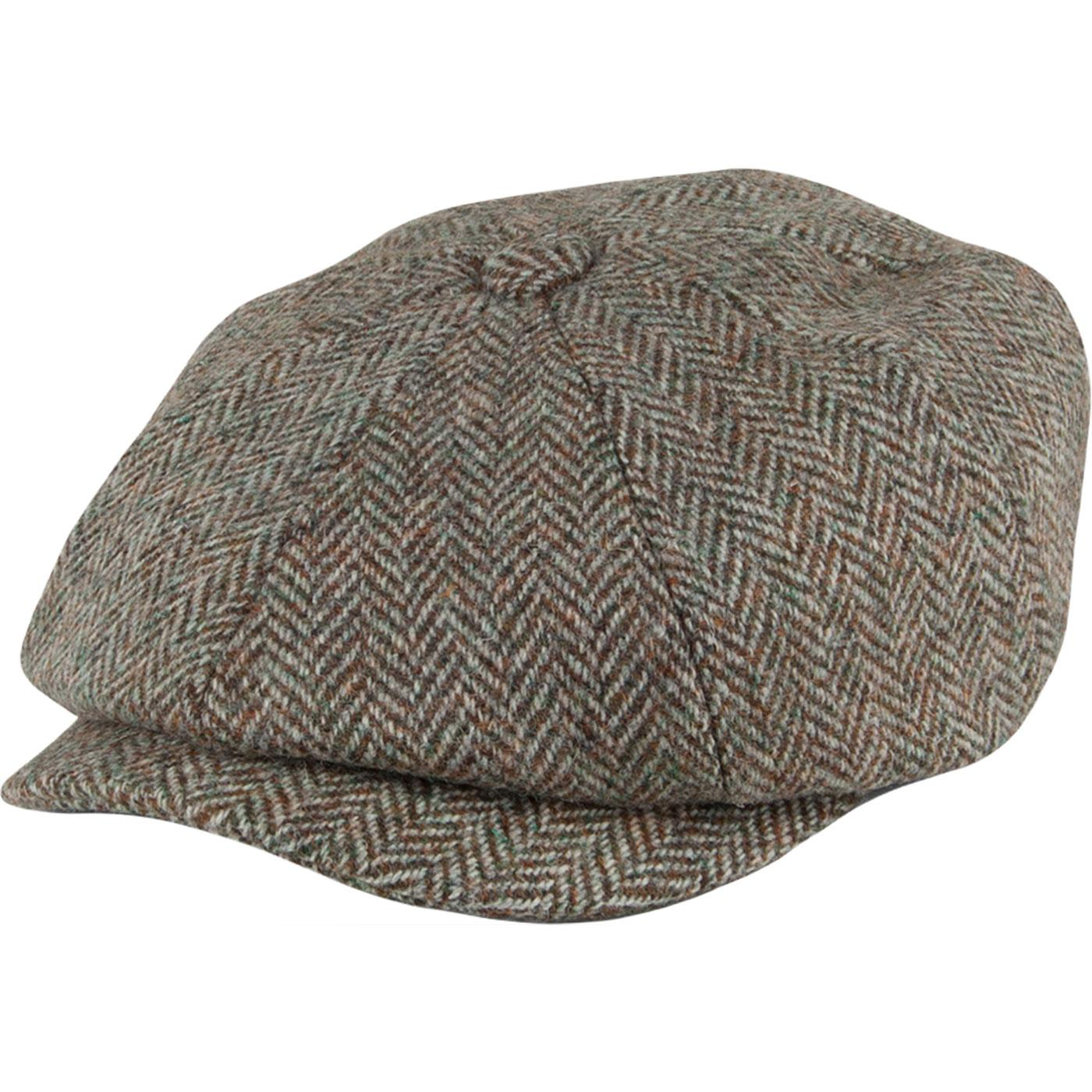 Carloway Harris Tweed FAILSWORTH Gatsby Cap - GREY