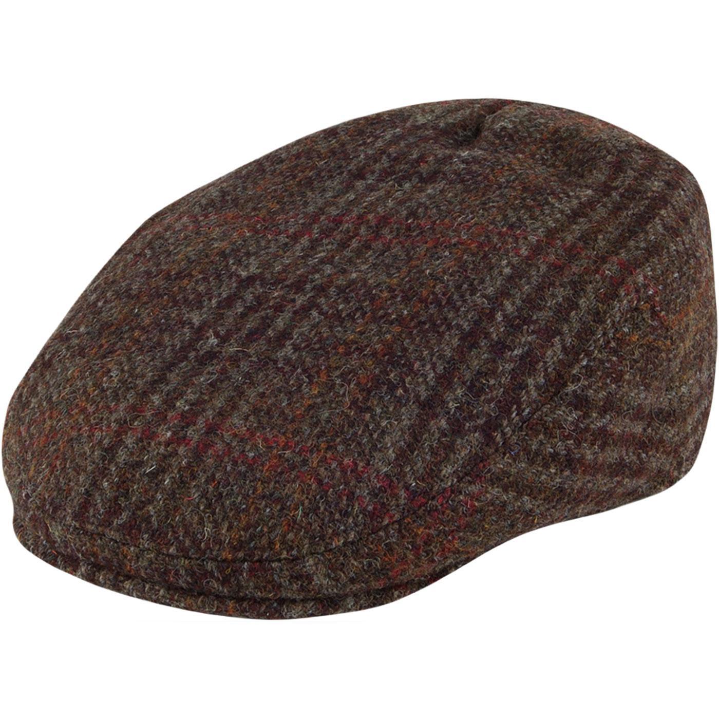 FAILSWORTH Stornoway Harris Tweed Flat Cap - GREY