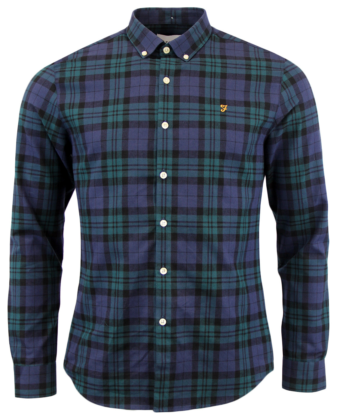 Farah helford retro mod sixties mens tartan shirt in green for Blue and green tartan shirt