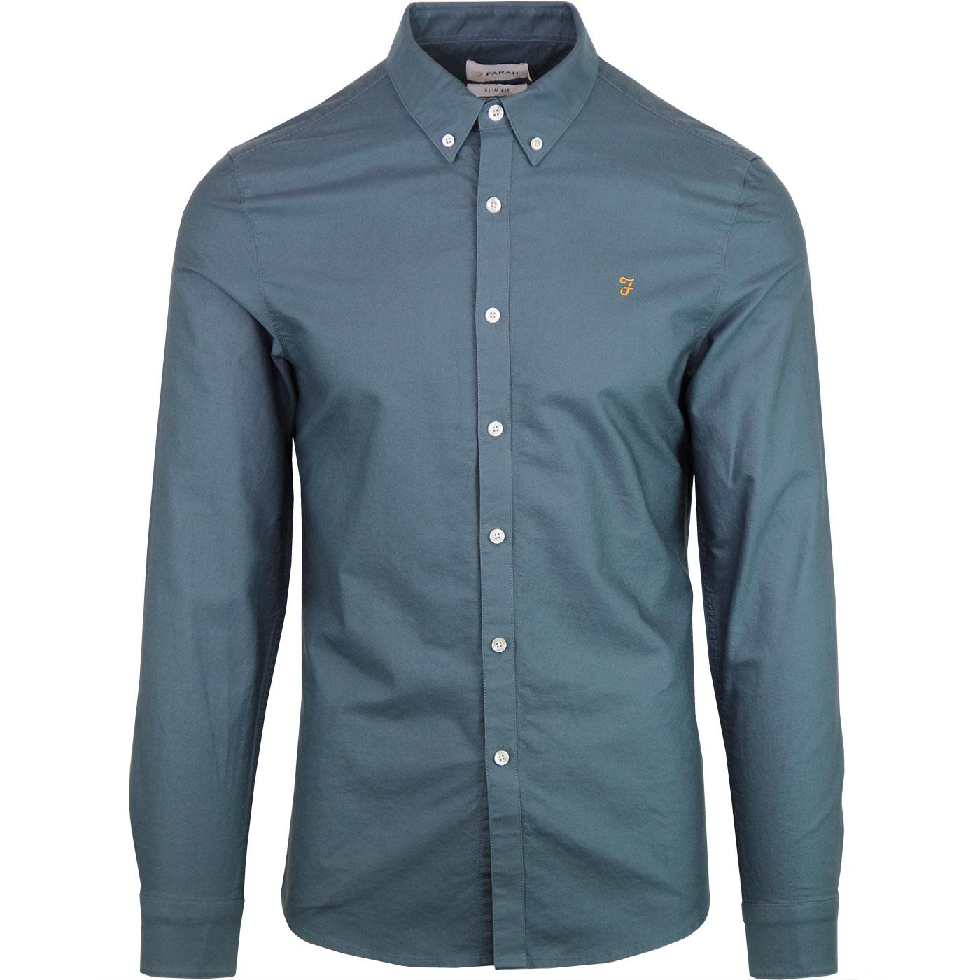 Brewer FARAH Slim Button Down Oxford Shirt - Ocean