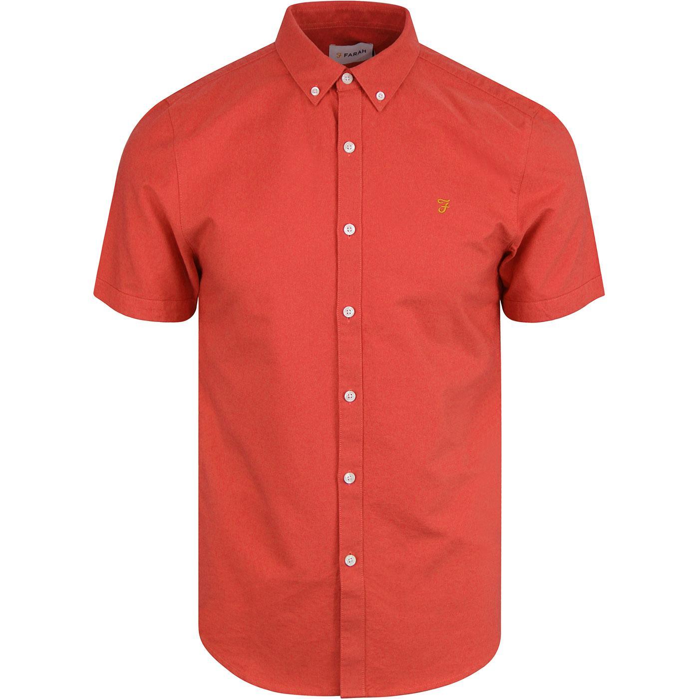 Brewer FARAH Slim Retro S/S Oxford Shirt RED COAT