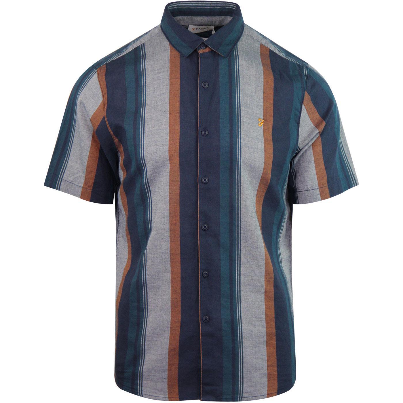 Donnally FARAH Retro 60s Mod Texture Stripe Shirt