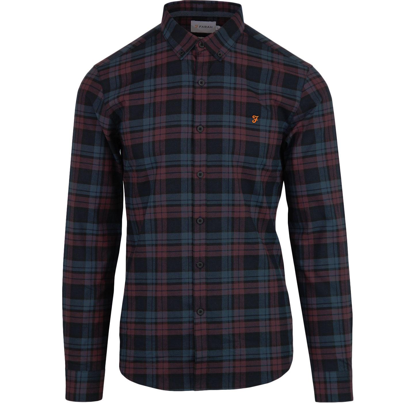 Radley FARAH Retro 70s Slim Fit Check Shirt in Red