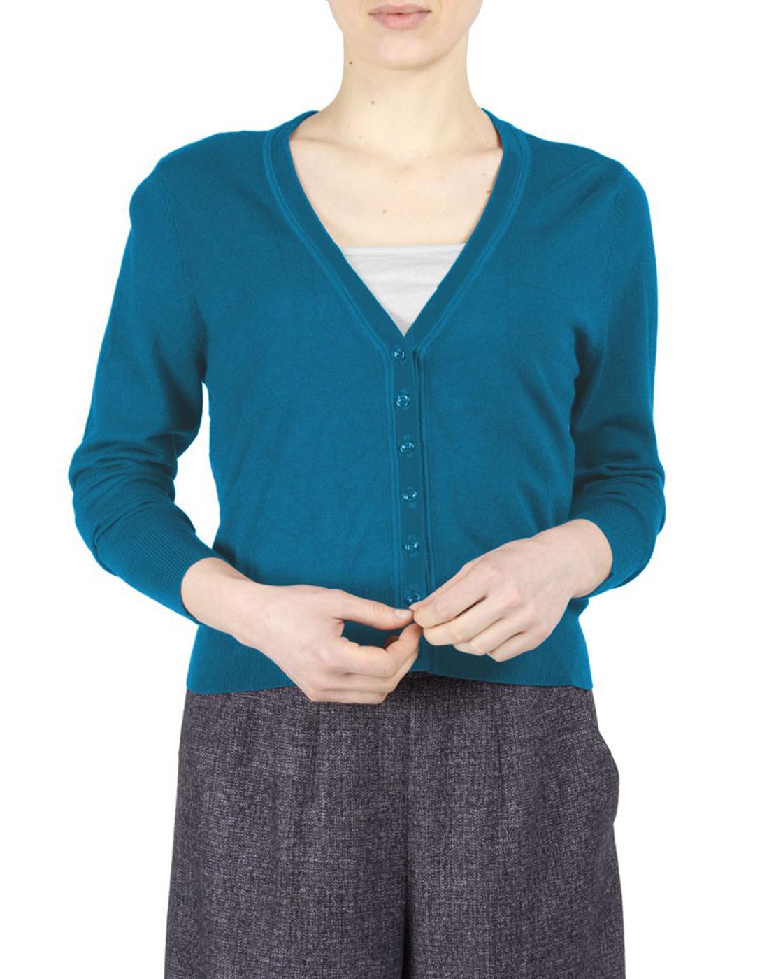 Melanie FEVER Retro Sixties Plain Knitted Cardigan