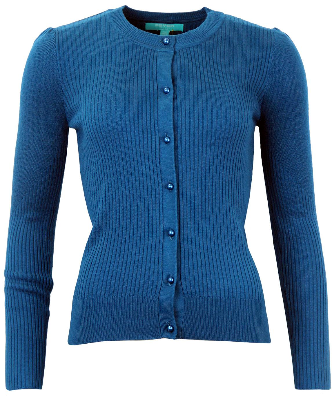 Turin FEVER Retro 50s Style Ribbed Knit Cardigan