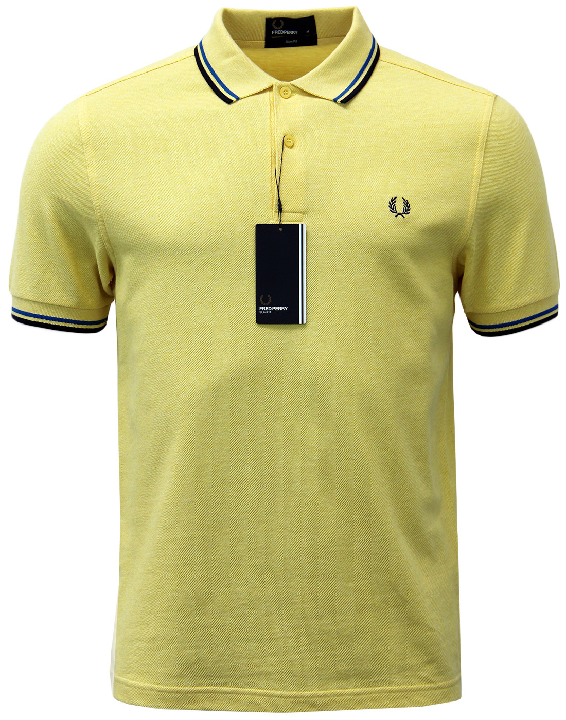 FRED PERRY M3600 Mod Twin Tipped Polo Shirt YELLOW