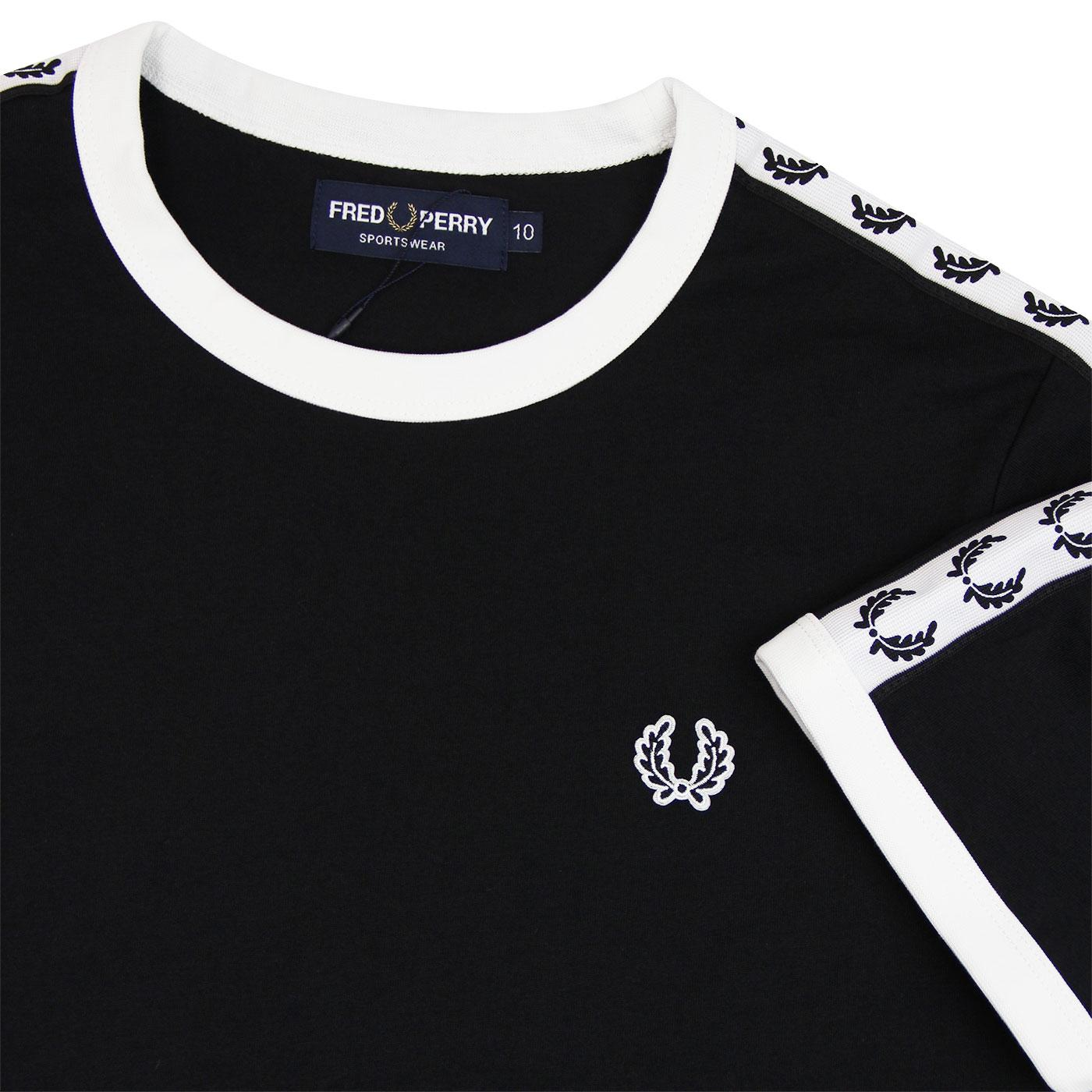 FRED PERRY Retro Taped Laurel Contrast Ringer Tee BLACK