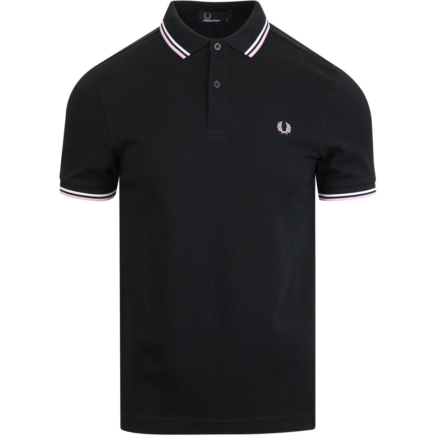 FRED PERRY M3600 Twin Tipped Mod Polo Shirt BLACK