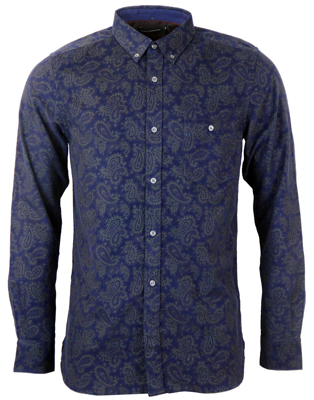 Connery FRENCH CONNECTION Retro Paisley Cord Shirt