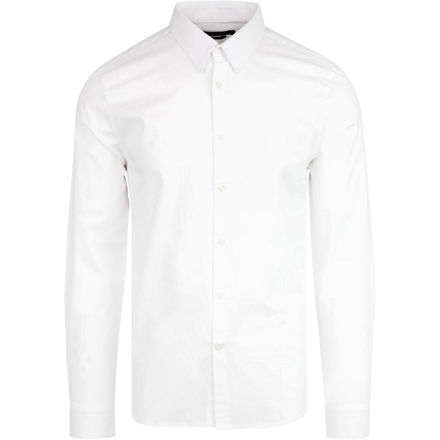 FRENCH CONNECTION Stretch Poplin Mod Shirt White