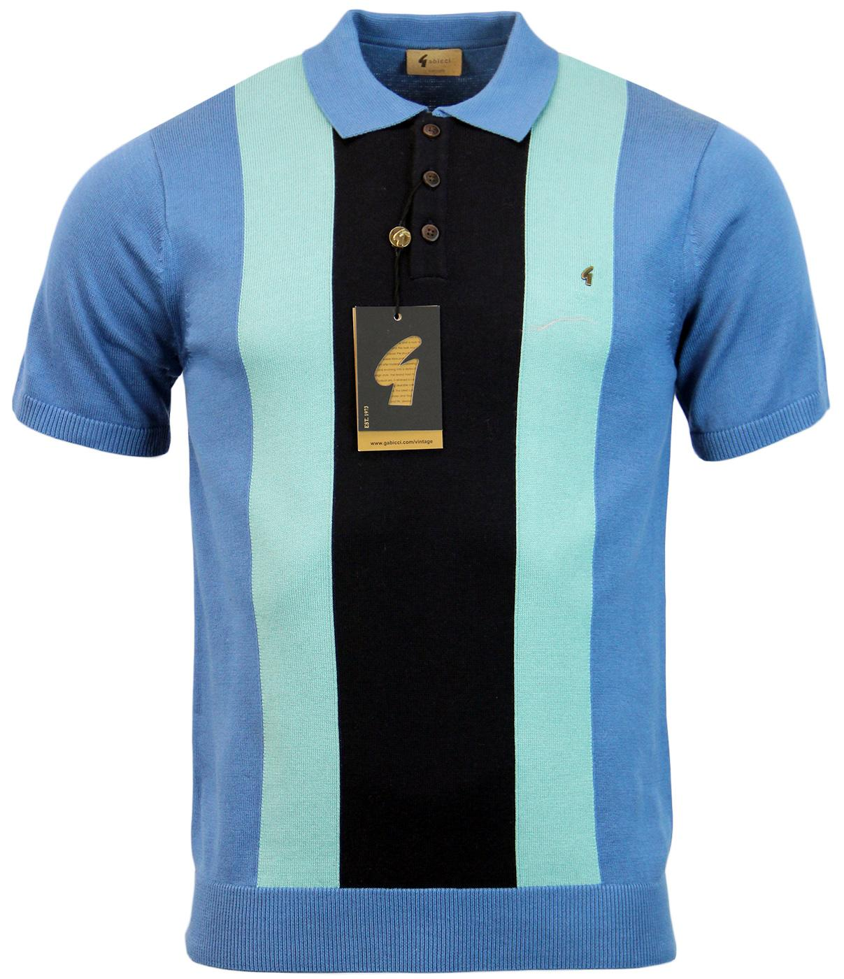 GABICCI VINTAGE Retro Mod Stripe Panel Knit Polo R