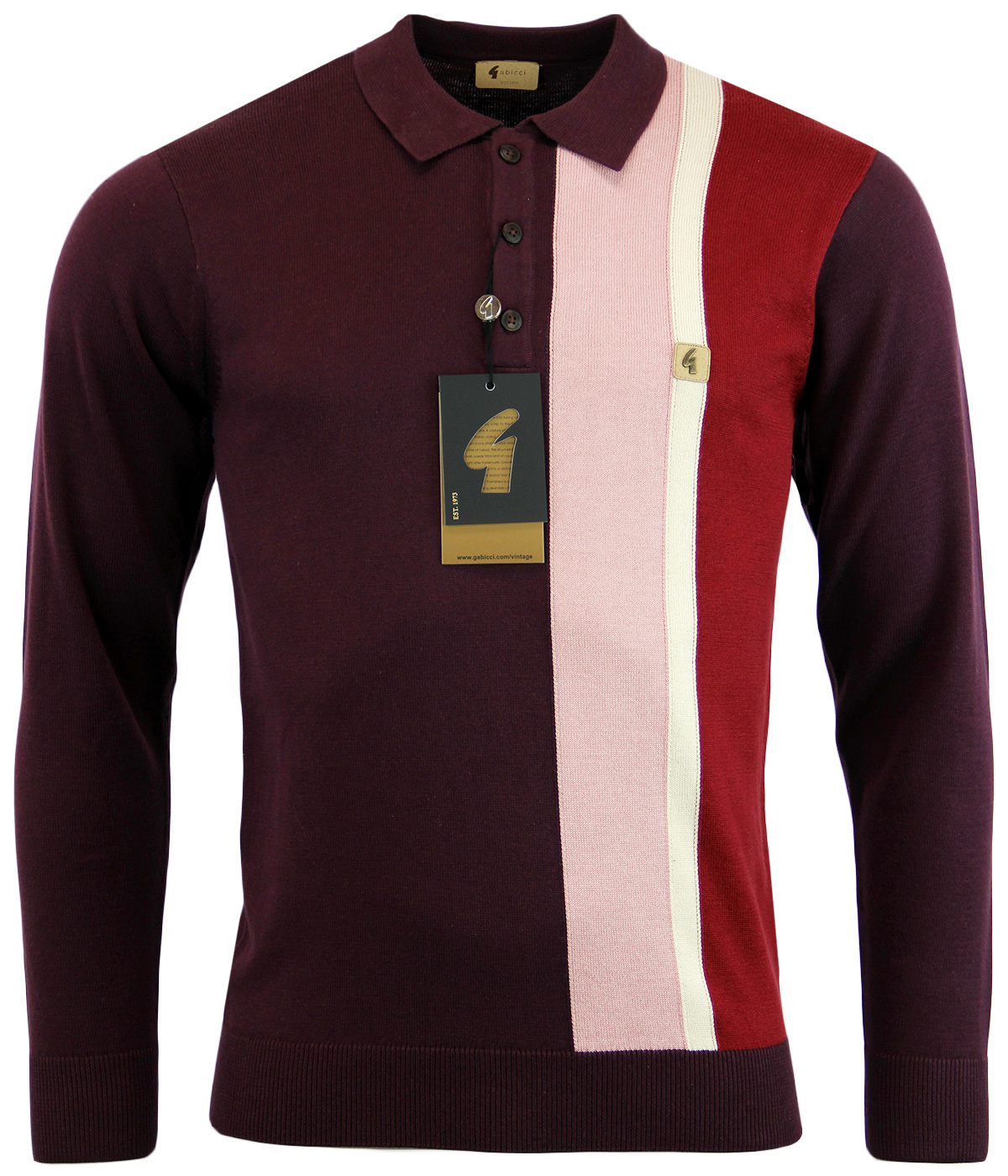 GABICCI VINTAGE 60s Mod Racing Stripe Knitted Polo