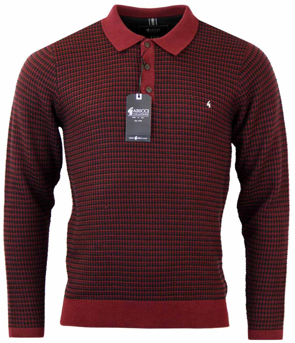 GABICCI VINTAGE Lattice Weave Retro Mod Knit Polo