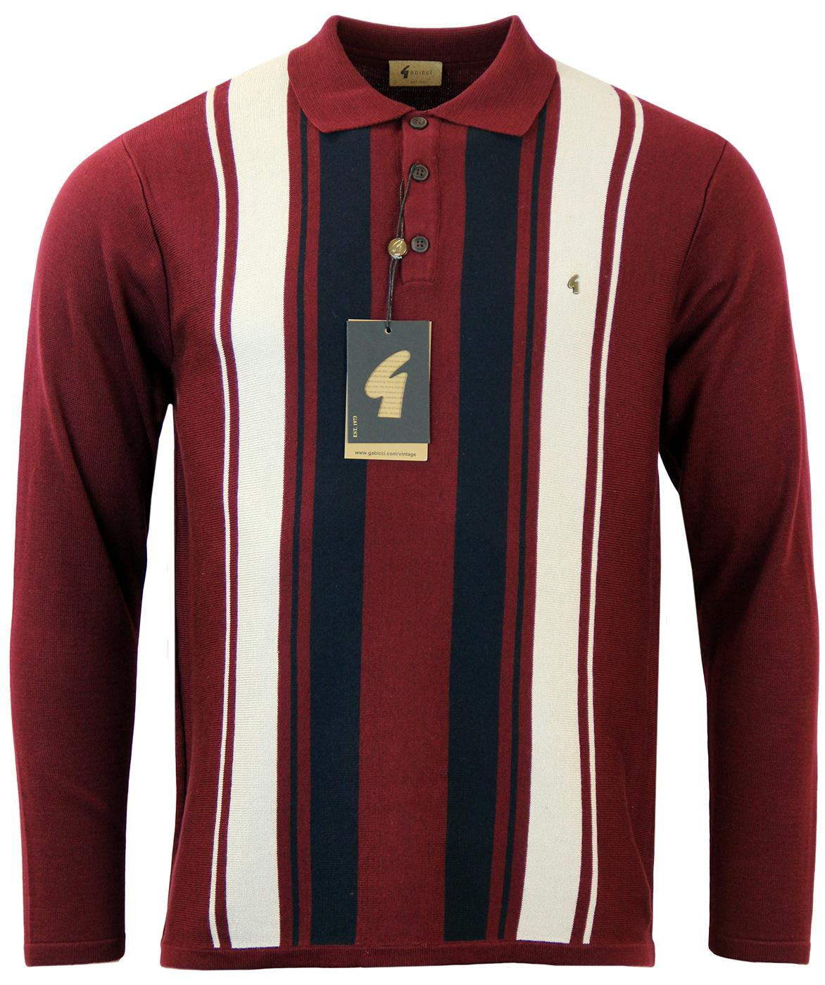GABICCI VINTAGE 60s Mod Stripe Knit Polo Port
