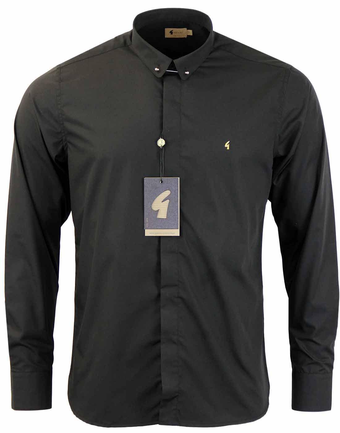 GABICCI VINTAGE Retro 60s Mod Bar Collar Shirt (B)