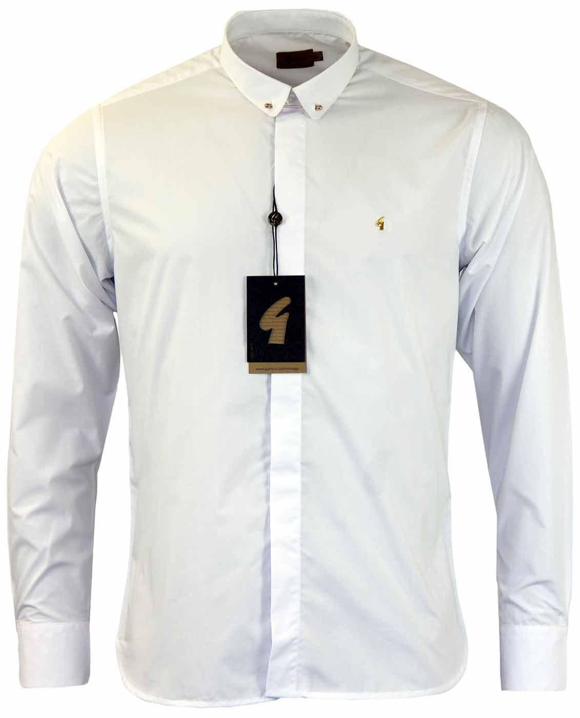 Gabicci Vintage Wyman Retro 60s Mod Bar Collar Shirt In White