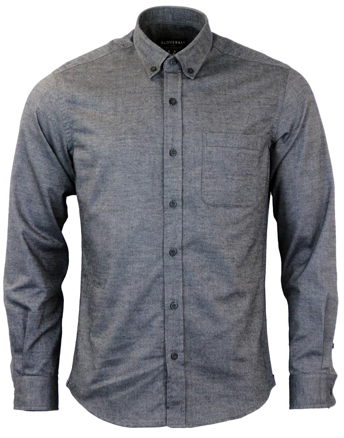 Gloverall Retro Brushed Cotton Twill Oxford Shirt In Blue